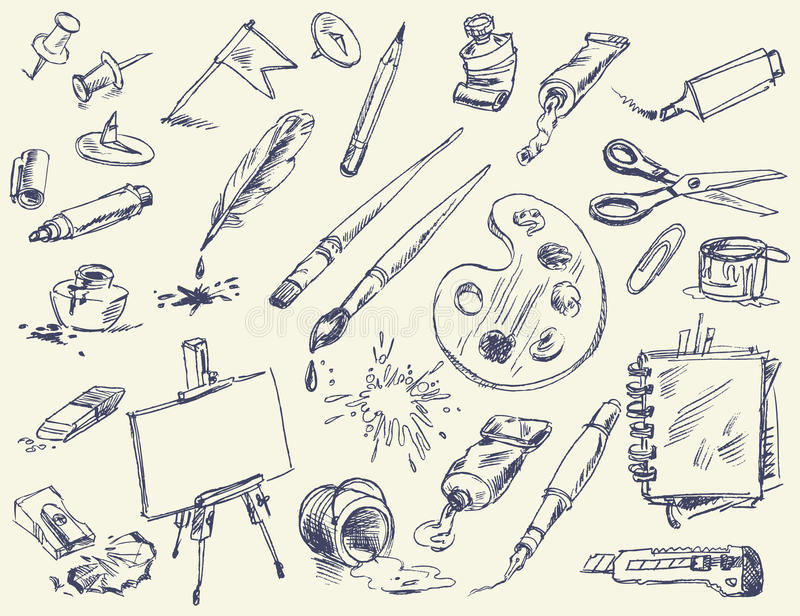 Office supplies. Products for Artists royalty free illustration