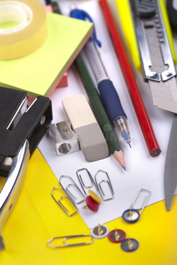 Office supplies. School and office supplies close-up stock photo