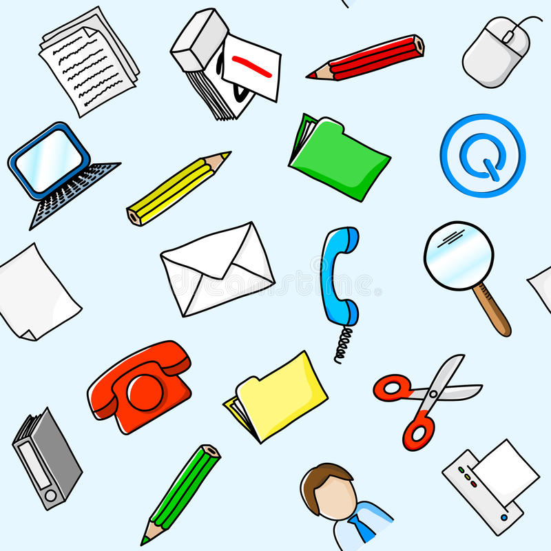 Office supplies seamless background stock illustration