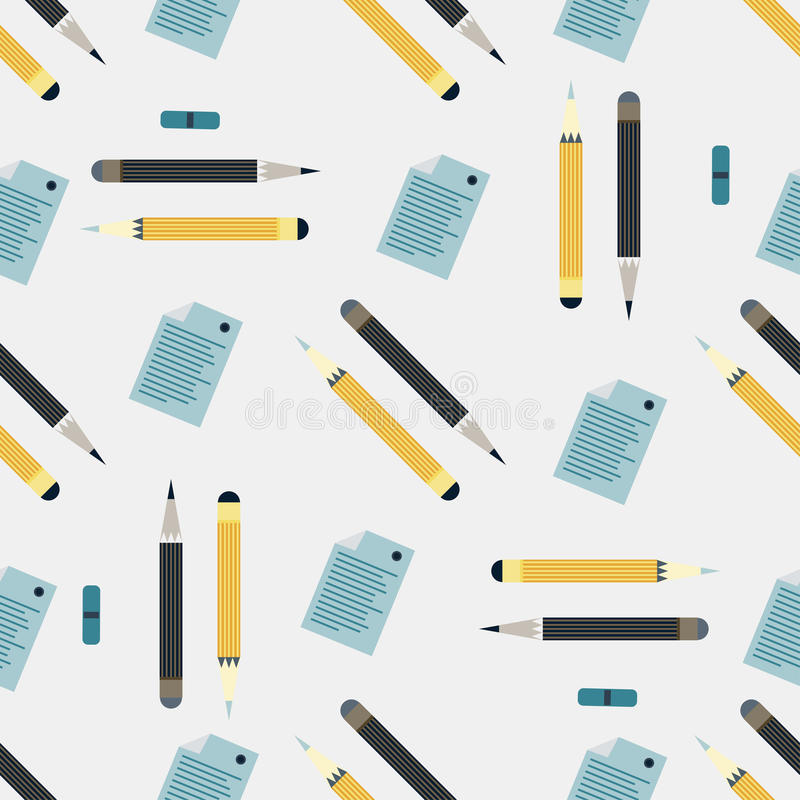 Office supplies seamless colored background stock illustration