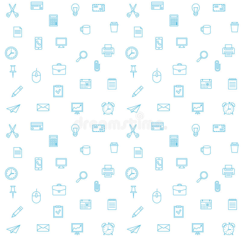 Office supplies seamless vector pattern. Thin lines office icons stock illustration