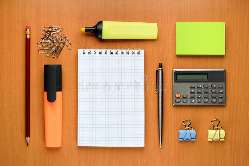 Office supplies. Set of office supplies on table royalty free stock photo