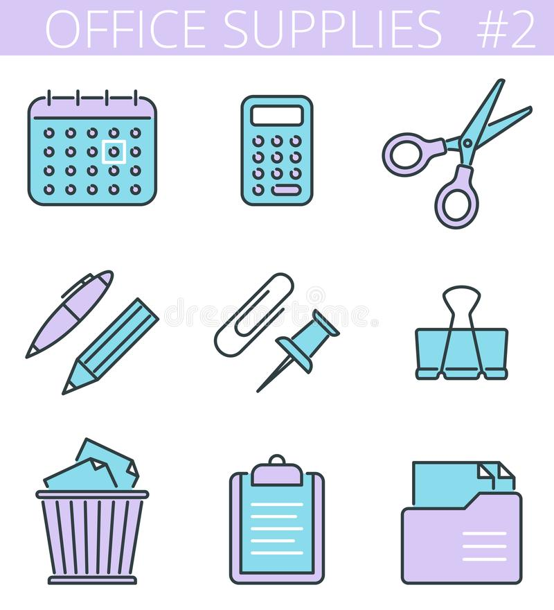 Office, business stationery line symbols. Vector thin outline icon set. royalty free illustration