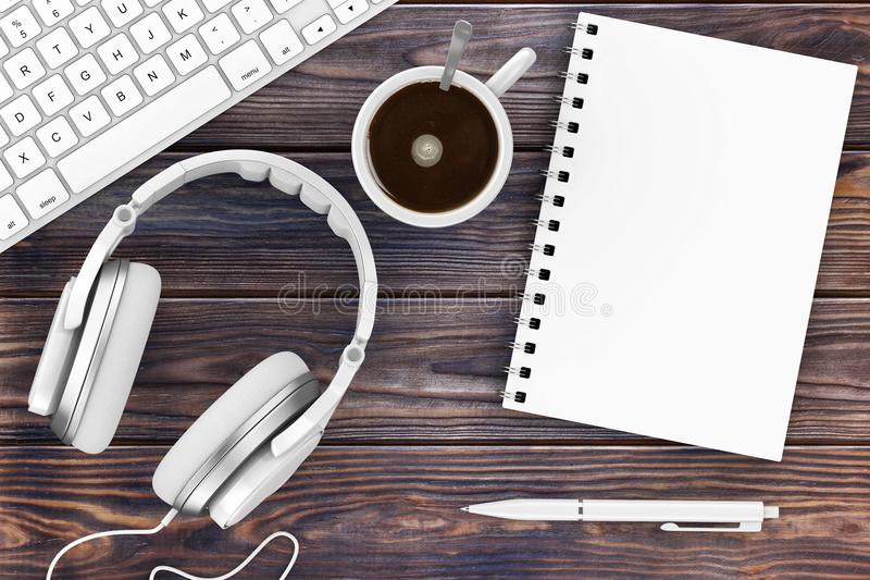 Office Supplies. Top View of Opened Notebook, Pen, Keyboard, Headphones and Cup of Coffee. 3d Rendering. Office Supplies. Top View of Opened Notebook, Pen stock photography