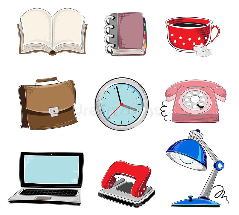Office supplies icons set royalty free illustration