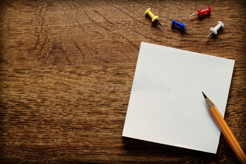 Office Supplies on Wooden Surface with Copy Space stock photography