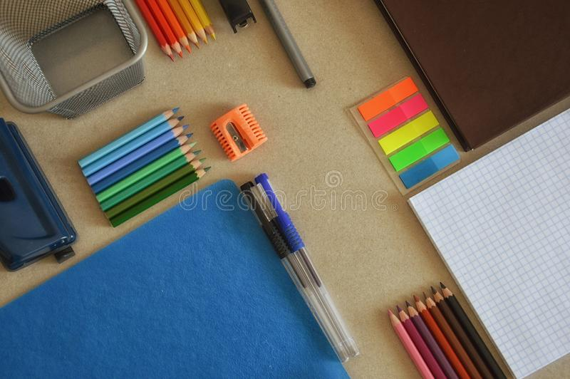 Office supplies for work and study on the table. Different office and school supplies, different color royalty free stock photos