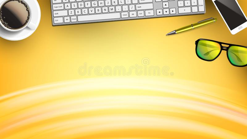 Daily Office Supplies On Workspace Flat Lay Vector. Realistic Coffee Mug Near Keyboard, Smatphone And Pen Near Computer Glasses With Black Frame On Workspace royalty free illustration