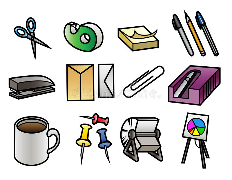 Office Supply Icons vector illustration
