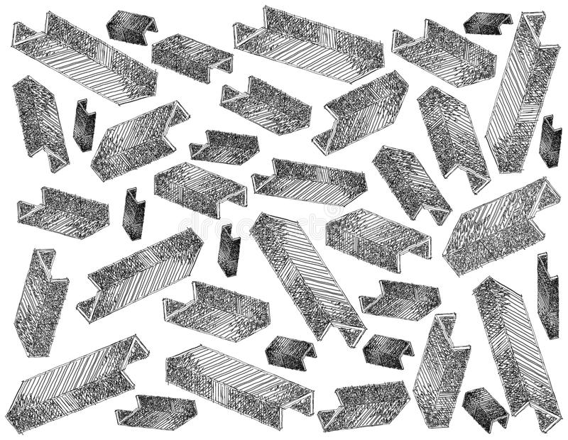 Background of Staple Strip or Paper Staples. Office Supply, Illustration Wallpaper Background of Hand Drawn Sketch of Staple Strips or Paper Staples Used with A vector illustration
