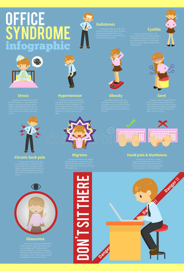 Office syndrome education info graphic template layout background design stock illustration