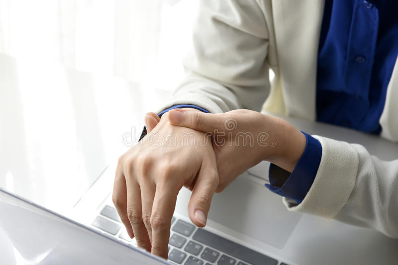 Office syndrome hand pain by occupational disease. royalty free stock images