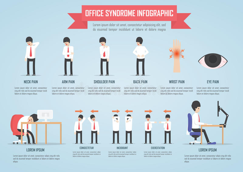 Office syndrome infographic royalty free illustration