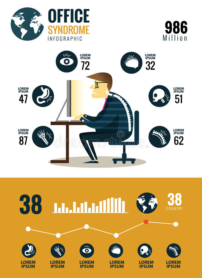 Office syndrome Infographics. stock illustration