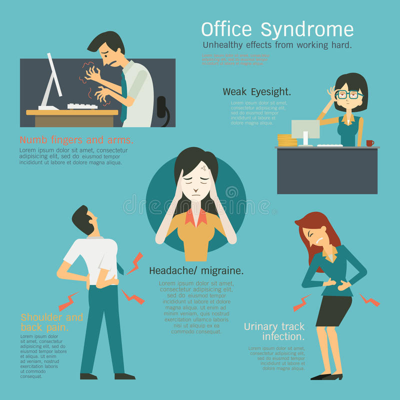 Office syndrome royalty free illustration