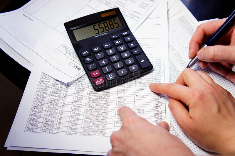 Download Office Table With Calculator, Pen And Accounting Document Stock Image - Image: 36378603