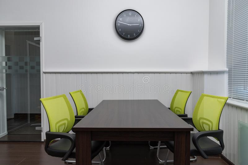 Office table and chairs. Office space interior royalty free stock photos