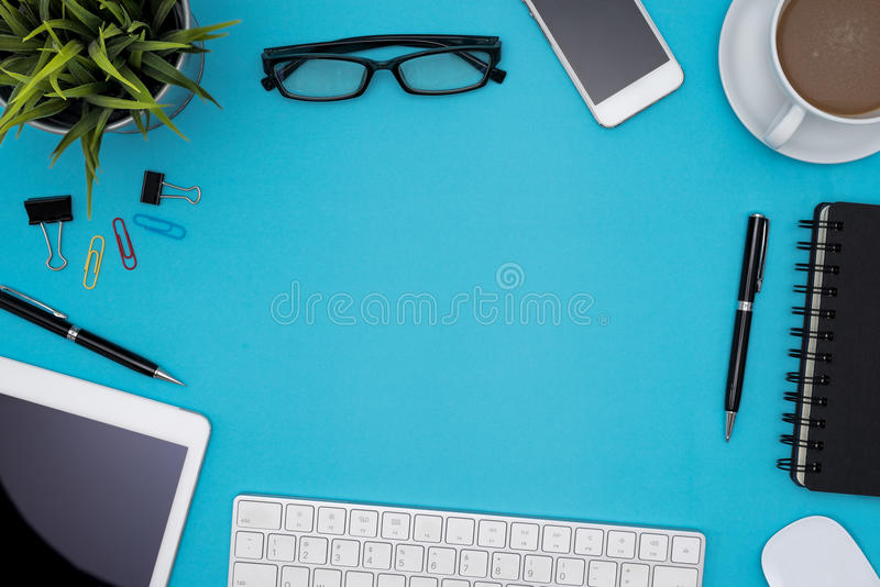 Office table desk with supplies and copy space stock images