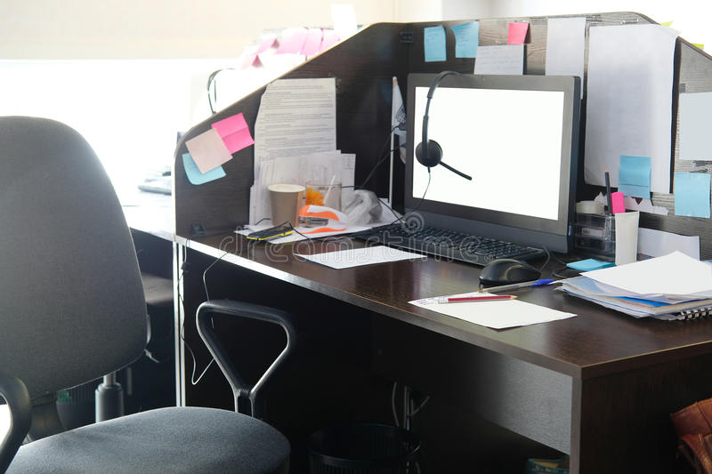 Office table. With PC and different stationery on it stock photos