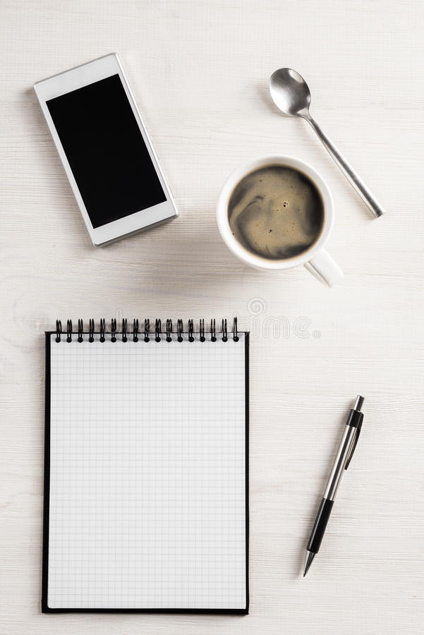 Free Office Table Top View Royalty Free Stock Photography - 46479377