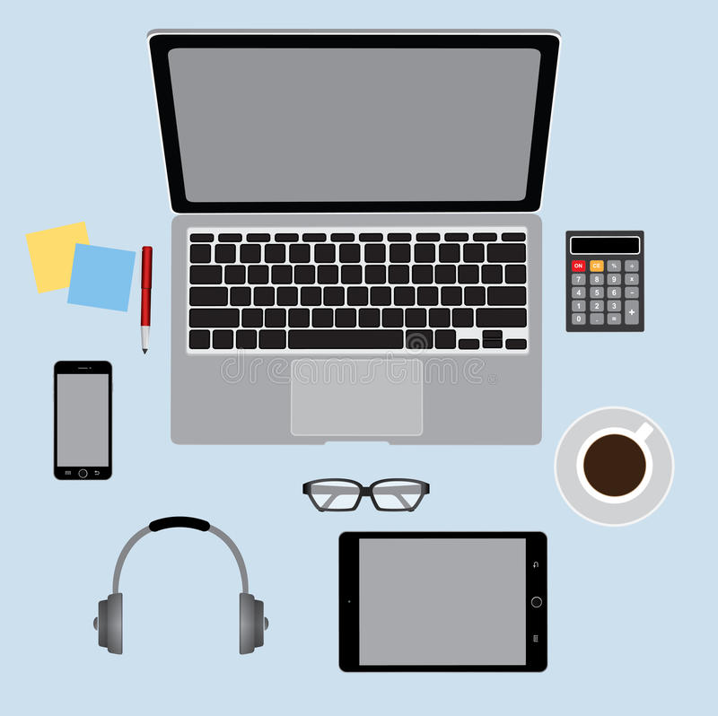 Office table top view, Business Concept royalty free illustration