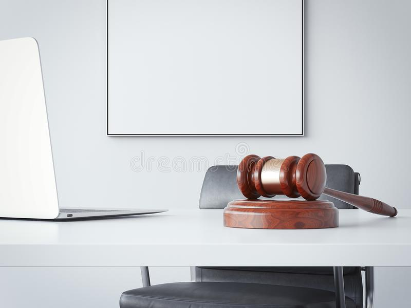 Office table with a hammer of the judge. 3d rendering. Office table with a wooden hammer of the judge. 3d rendering royalty free illustration