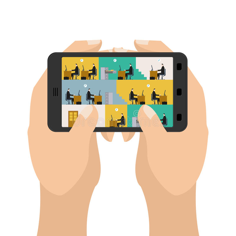 Office on tablet game. Business in a smartphone. Hands hold gadget. Table and computer. Working on computer royalty free illustration