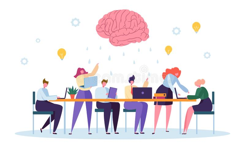 Office Team Character Brainsorm Work Conference. Business People Group Meeting at Desk Laptop with Brain Symbol. Above. Corporate Project Creative Teamwork Flat vector illustration