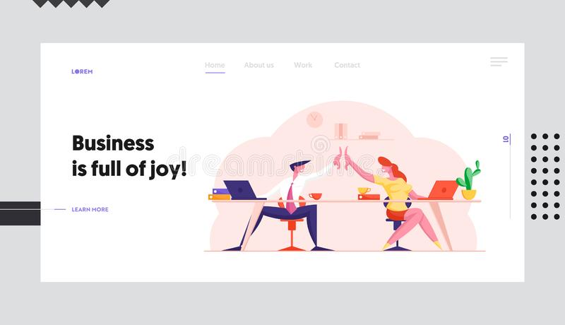 Office Team Triumph after Contract Signing Website Landing Page. Colleagues Sitting at Desk Give Highfive to Each Other. After Successful Business Deal Web Page vector illustration