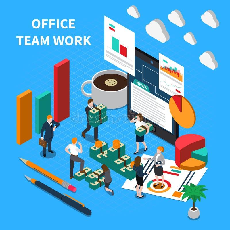 Office Teamwork Isometric Concept stock illustration
