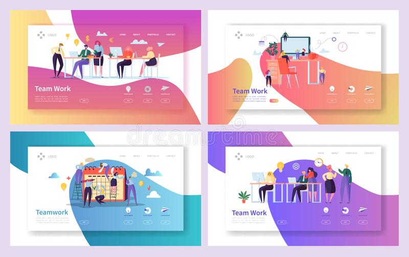 Office Teamwork Meeting Landing Page Set. Business People Work Together at Professional Workplace. Freelancer Character. Group Communication Concept for Web royalty free illustration