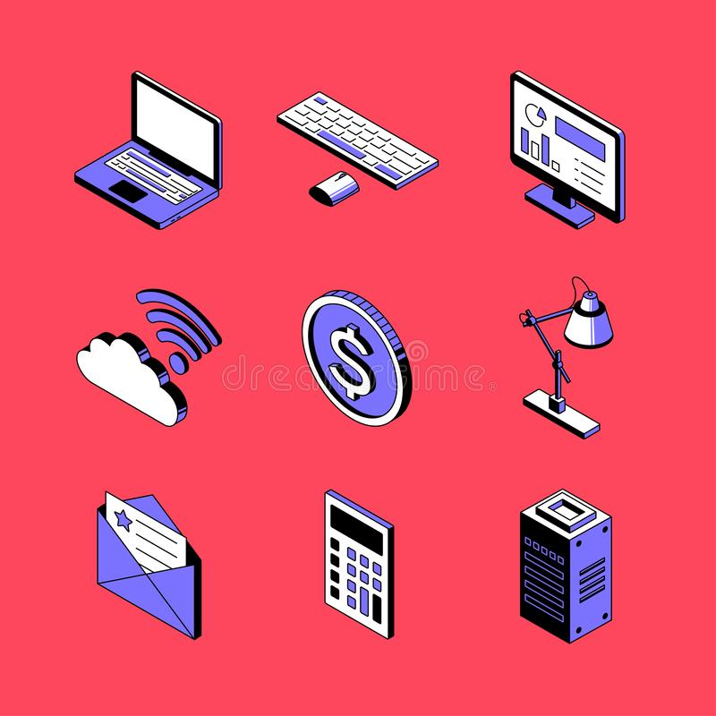 Office and technology - vector isometric icons set stock illustration