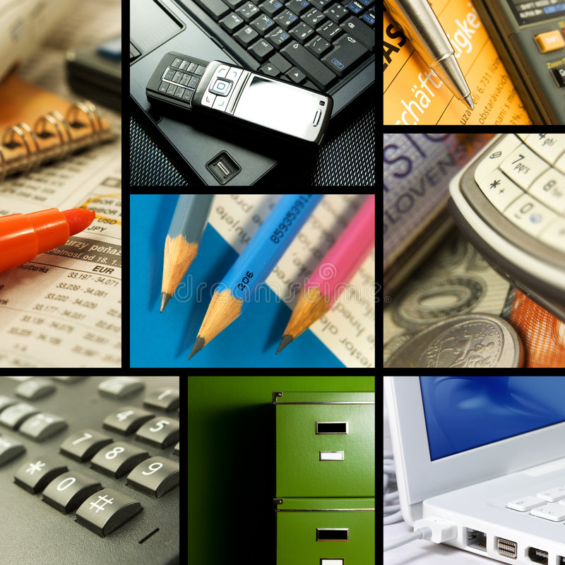 Office themed collection. An office themed collection of images including common items found at work stock photography