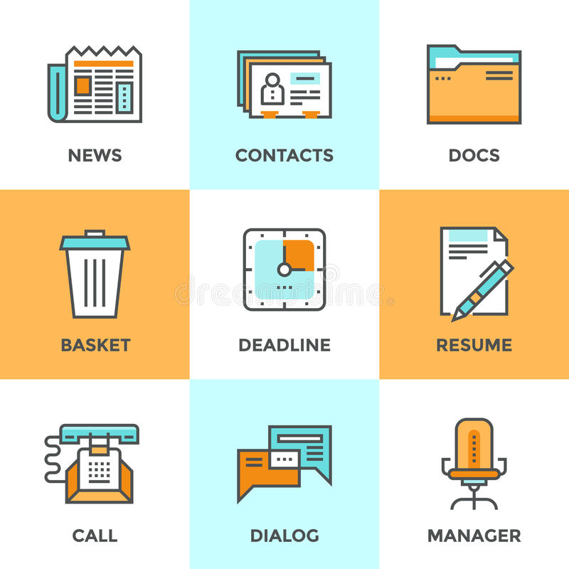 Office things line icons set royalty free illustration