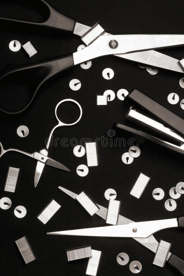 Download Office tool on black stock photo. Image of pushpin, stapler - 13168710
