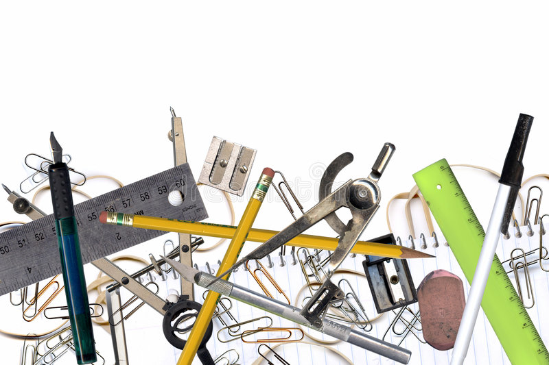 Office tools. Composite of office and design tools on white stock images