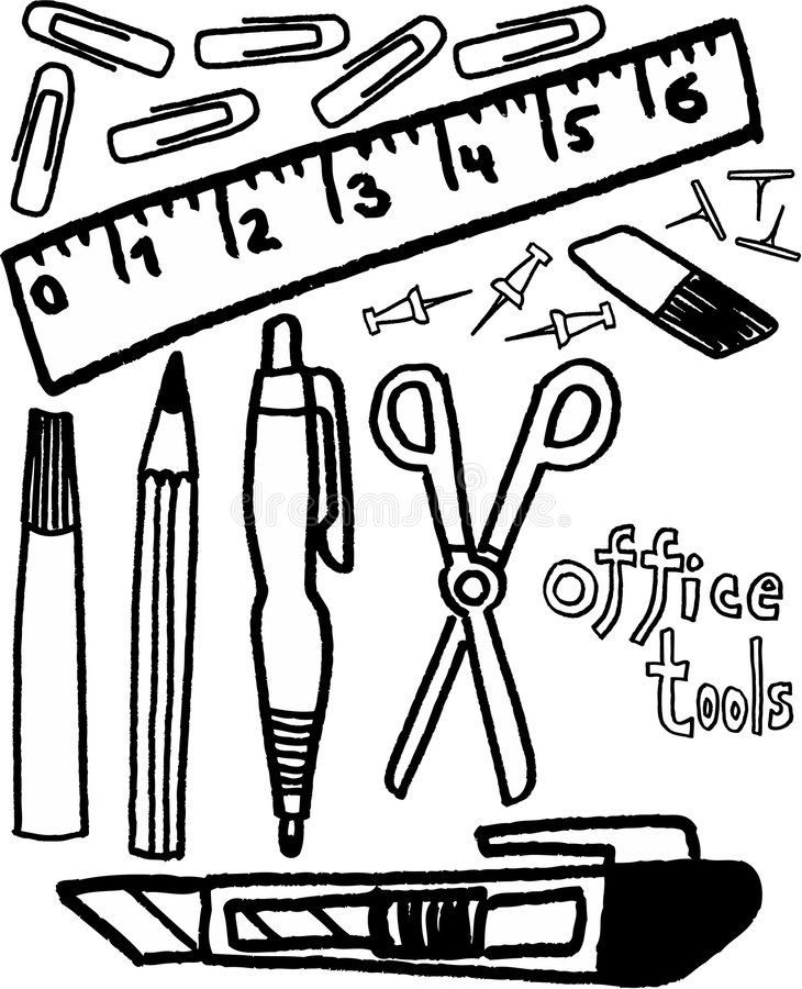 Office tools. Black and white ofice tools on white background. vector image stock illustration