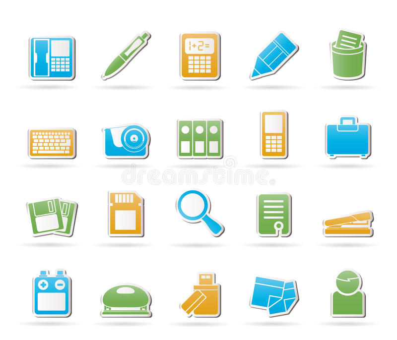 Office tools Icons. Icon set 3 vector illustration