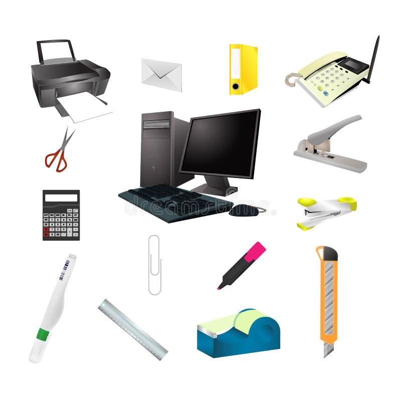 Office tools realistic icon set stock illustration for Herramientas de oficina