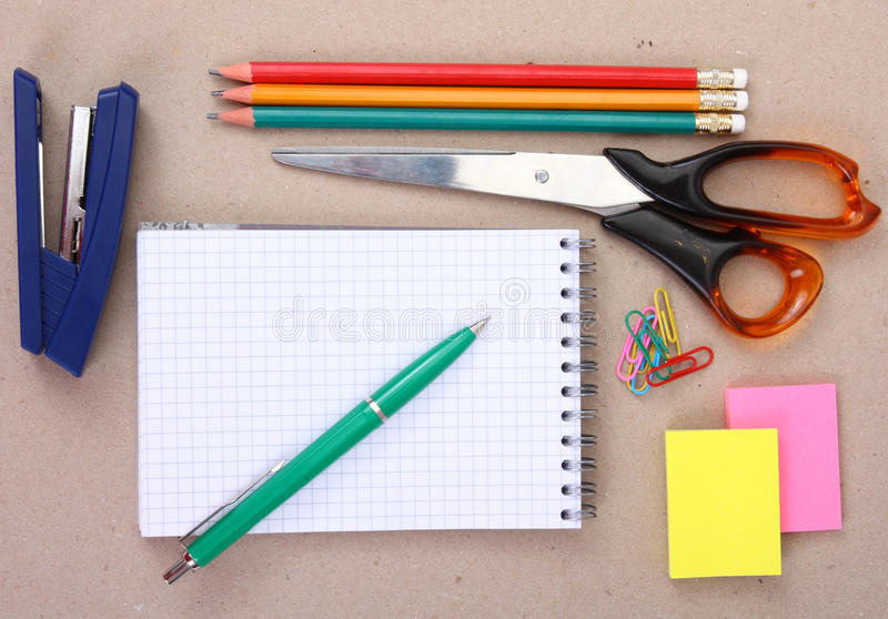 Office tools (or school tools). View of the office tools (or school tools stock photos