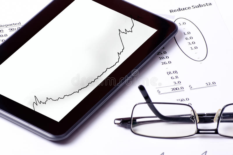 Office tools. Typical tools in the office work including modern technology stock image