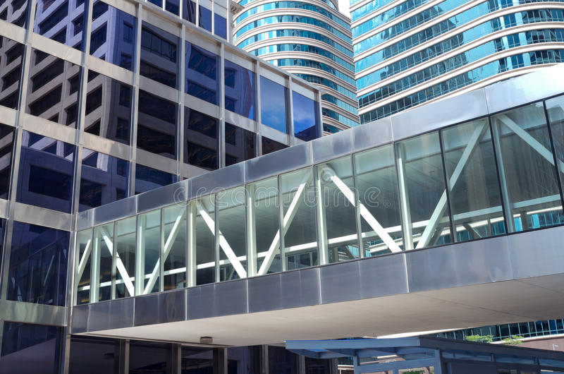 Office Towers Reflections and Skyway royalty free stock photography