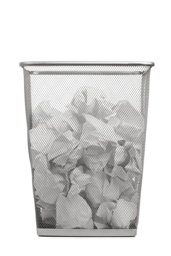 Office Trash Can With Crumpled Paper