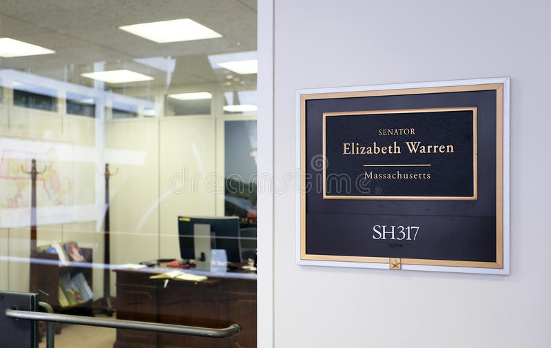 Office of United States Senator Elizabeth Warren. Washington, DC, USA - July 18, 2017: The entrance to the office of Senator Elizabeth Warren in Washington DC stock photos