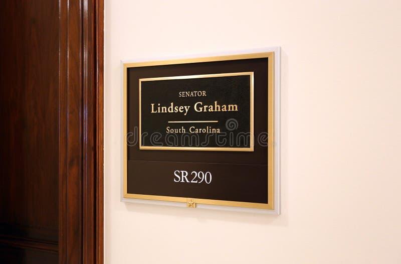 Office of United States Senator Lindsey Graham. Washington, DC, USA - July 18, 2017: The entrance to the office of Senator Lindsey Graham in Washington DC royalty free stock photo