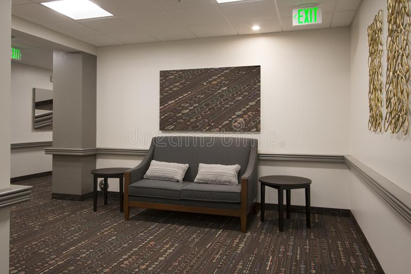 Office Waiting Area Hall. Luxury waiting area of new office building construction royalty free stock photos