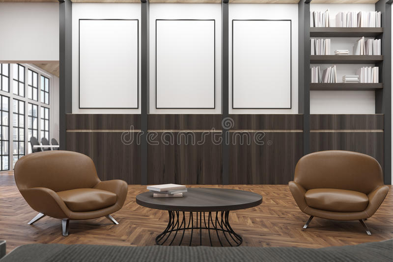 Office waiting room with two comfortable dark leather armchairs near a round coffee table. vector illustration