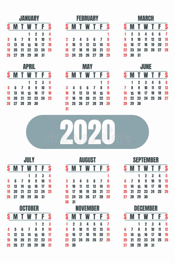 Office wall 2020 calendar concept banner, flat style royalty free stock images