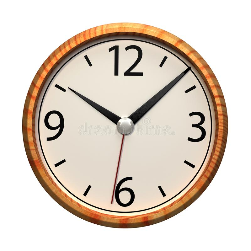 Office wall clock isolated on white background. royalty free illustration