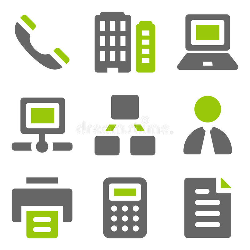 Office web icons, green grey solid icons. Vector web icons set. Easy to edit, scale and colorize stock illustration